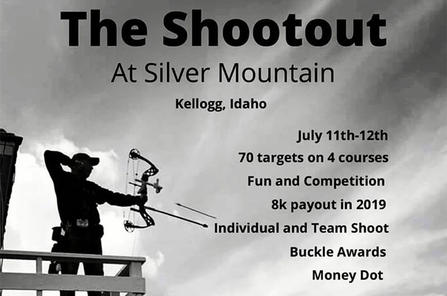 Man shooting a bow and arrow at the Silver Mountain Shootout