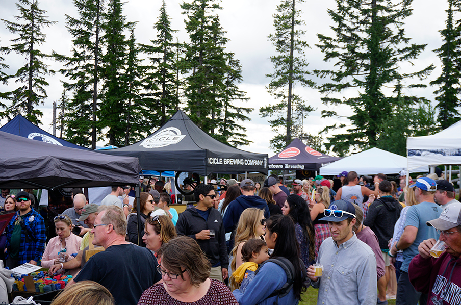 Guests enjoying beer on the mountain at Brewsfest