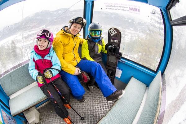 Family in gondola cabin